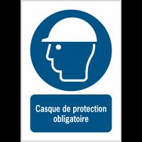 Panneaux ISO 7010 à message vertical - Casque de protection obligatoire - M014