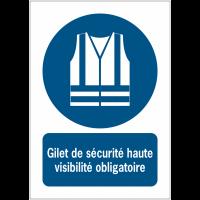 Panneaux ISO 7010 à message vertical - Gilet de sécurité haute visibilité obligatoire - M015