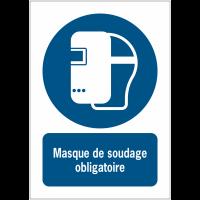 Panneaux ISO 7010 à message vertical - Masque de soudage obligatoire - M019