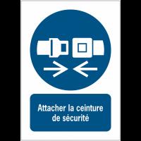 Panneaux ISO 7010 d'obligation à message vertical - Attacher la ceinture de sécurité - M020
