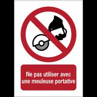 Panneaux ISO 7010 d'interdiction à message vertical - Ne pas utiliser avec une meuleuse portative - P034