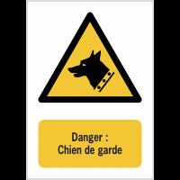 Panneaux ISO 7010 à message vertical - Danger, chien de garde - W013