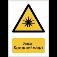 Panneaux ISO 7010 de danger à message vertical - rayonnement optique - W027