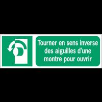 Panneaux ISO 7010 d'évacuation à message horizontal - Tourner en sens inverse des aiguilles d'une montre pour ouvrir - E018
