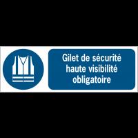Panneaux ISO 7010 d'obligation à message horizontal - Gilet de sécurité haute visibilité - M015