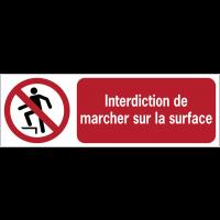 Panneaux ISO 7010 à message horizontal - Interdiction de marcher sur la surface - P019