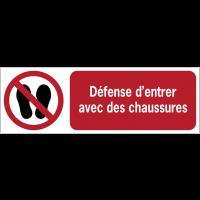 Panneaux ISO 7010 à message horizontal - Défense d'entrer avec des chaussures - P024