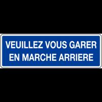 """Panneau bleu avec texte """"Veuillez vous garer en marche arrière""""  - Matériau PVC"""