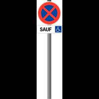 """Panneau """"Arrêt et stationnement interdits"""" avec panonceau pour Handicapés"""