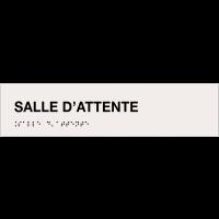 """Plaque """"Salle d'attente"""" avec texte en relief et traduction en braille"""