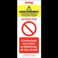 """Plaquette d'inspection pour échafaudage """"Interdiction générale"""""""