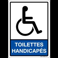 """Plaque en plexiglas avec pictogramme et texte """"toilettes handicapés"""""""