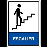"""Plaque en plexiglas d'information pictogramme et texte """"escalier"""""""