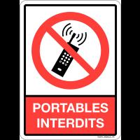 """Plaque en plexiglas d'interdiction pictogramme et texte """"portables interdits"""""""