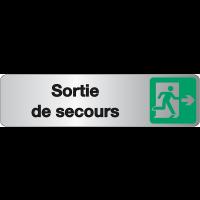 """Plaque en plexiglas avec texte et symbole """"Sortie de secours"""""""