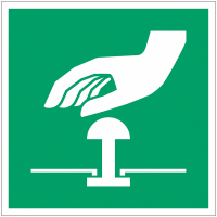 Panneaux et autocollants NF EN ISO 7010 Bouton d'arrêt d'urgence - E020