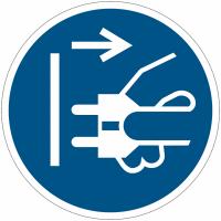 Panneaux et autocollants NF EN ISO 7010 Débrancher la prise d'alimentation du secteur - M006