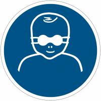 Panneaux et autocollants NF EN ISO 7010 Protection opaque des yeux obligatoire pour les enfants en bas âge - M025
