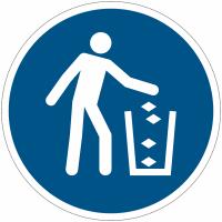 Panneaux et autocollants NF EN ISO 7010 Utiliser la poubelle - M030