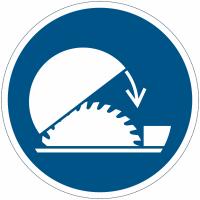 Panneaux et autocollants NF EN ISO 7010 Utiliser la protection réglable de la scie circulaire sur table - M031