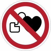 Panneaux et autocollants NF EN ISO 7010 Interdit aux personnes porteuses d'un stimulateur cardiaque - P007