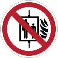 Panneaux et autocollants NF EN ISO 7010 Interdiction d'utiliser l'ascenseur en cas d'incendie - P020
