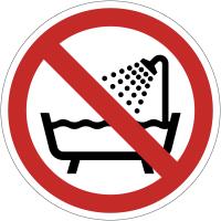 Pictogramme ISO 7010 en rouleau Ne pas utiliser ce dispositif dans une baignoire, une douche ou dans un réservoir rempli d'eau - P026