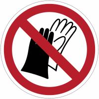 Panneaux et autocollants NF EN ISO 7010 Port de gants interdit - P028