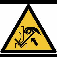 Panneaux et autocollants NF EN ISO 7010 Ecrasement de la main entre une presse plieuse et la matériau - W031
