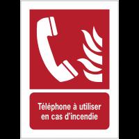 Panneaux NF EN ISO 7010 A3/A4/A5 Téléphone à utiliser en cas d'incendie - F006
