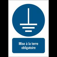Panneaux NF EN ISO 7010 A3/A4/A5 Mise à la terre obligatoire - M005