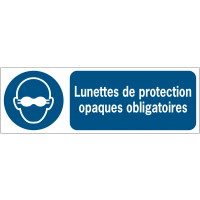 Panneaux ISO 7010 horizontaux Lunettes de protection opaques obligatoires - M007