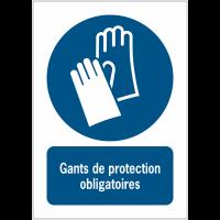 Panneaux NF EN ISO 7010 A3/A4/A5 Gants de protection obligatoires - M009