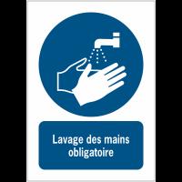 Panneaux NF EN ISO 7010 A3/A4/A5 Lavage des mains obligatoire - M011