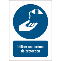 Panneaux NF EN ISO 7010 A3/A4/A5 Utiliser une crème de protection - M022