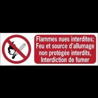 Panneaux ISO 7010 horizontaux Flammes nues interdites; Feu et source d'allumage non protégée interdits, Interdiction de fumer - P003