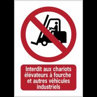 Panneaux NF EN ISO 7010 A3/A4/A5 Interdit aux chariots élévateurs à fourche et autres véhicules industriels - P006