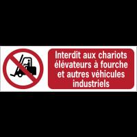 Panneaux ISO 7010 horizontaux Interdit aux chariots élévateurs à fourche et autres véhicules industriels - P006