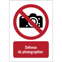 Panneaux NF EN ISO 7010 A3/A4/A5 Interdiction de photographier - P029