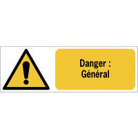 Panneaux ISO 7010 horizontaux Danger Général - W001