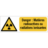 Panneaux ISO 7010 horizontaux Danger Matières radioactives ou radiations ionisantes - W003
