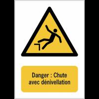 Panneaux NF EN ISO 7010 A3/A4/A5 Danger Chute avec dénivellation - W008