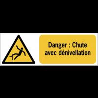 Panneaux ISO 7010 horizontaux Danger Chute avec dénivellation - W008