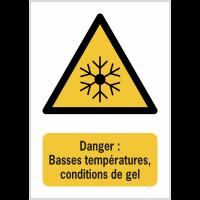 Panneaux NF EN ISO 7010 A3/A4/A5 Danger Basses températures, conditions de gel - W010