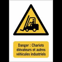 Panneaux NF EN ISO 7010 A3/A4/A5 Danger Chariots élévateurs et autres véhicules industriels - W014