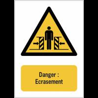 Panneaux NF EN ISO 7010 A3/A4/A5 Danger Ecrasement - W019