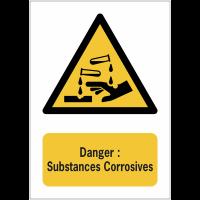 Panneaux NF EN ISO 7010 A3/A4/A5 Danger Substances corrosives - W023