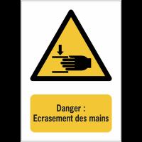 Panneaux NF EN ISO 7010 A3/A4/A5 Danger Ecrasement des mains - W024