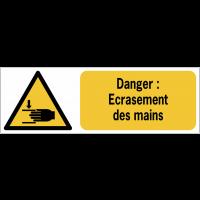Panneaux ISO 7010 horizontaux Danger Ecrasement des mains - W024