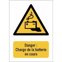 Panneaux NF EN ISO 7010 A3/A4/A5 Danger Charge de la batterie en cours - W026